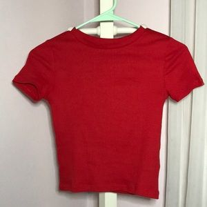 Red Cropped Ribbed Shirt!